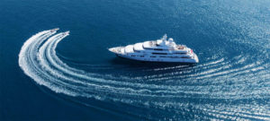 big yacht and 2 Inflatable vessels